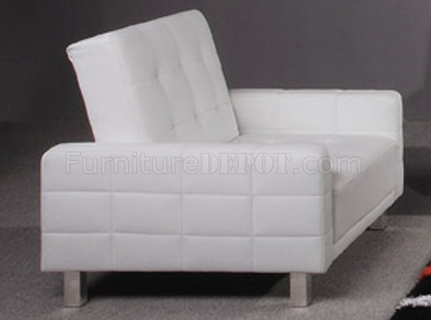 White Tufted Leatherette Modern Living Room Wsleeper Sofa - Fina-leather-sofa-by-athomeusa