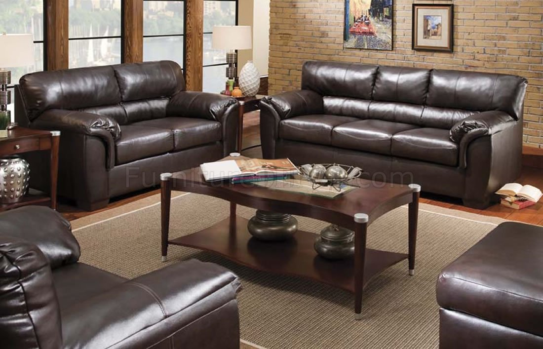 Walnut Bonded Leather Contemporary Sofa & Loveseat Set