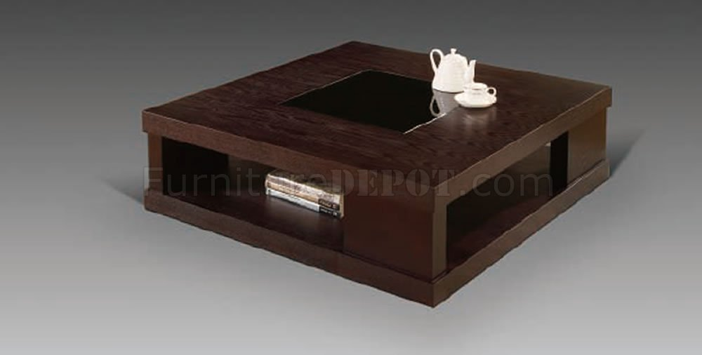 Wenge Finish Contemporary Square Coffee Table W Glass Inlay