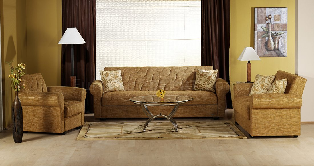 stylish living room with storage sleeper sofa in mustard