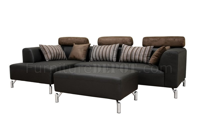 sectional sofa ottoman on Black Leather Sectional Sofa With Matching Ottoman At Furniture Depot