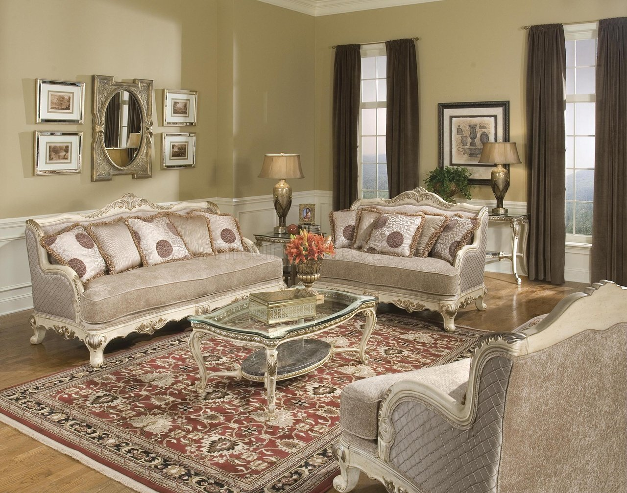 Pewter fabric traditional living room w carved wood frame for Traditional furniture