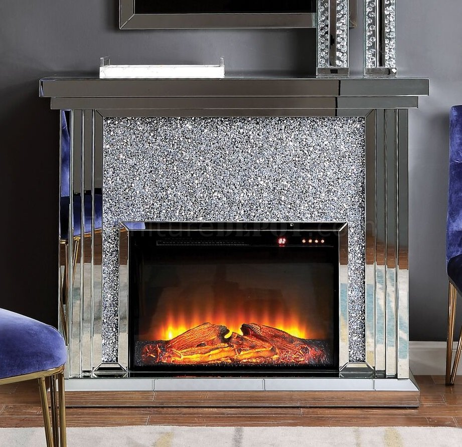 Noralie Electric Fireplace 90455 In Mirror By Acme