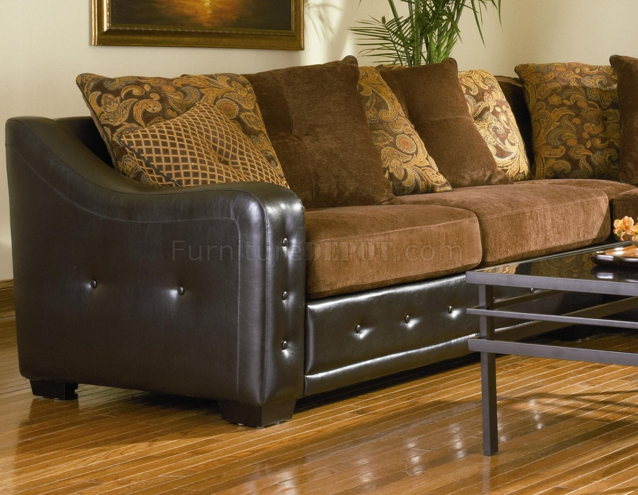 Chocolate Chenille Sectional Sofa W/Dark Brown Vinyl Base