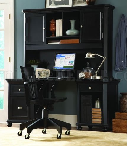 Amazing Black Finish Contemporary Desk W Hutch Storage Cabinets Download Free Architecture Designs Scobabritishbridgeorg