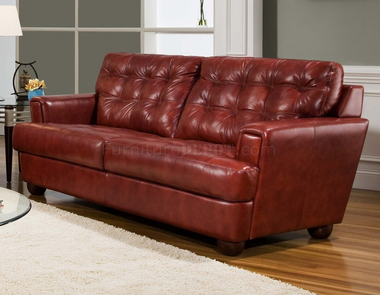 Burgundy tufted top grain leather modern sofa w options Burgundy leather loveseat