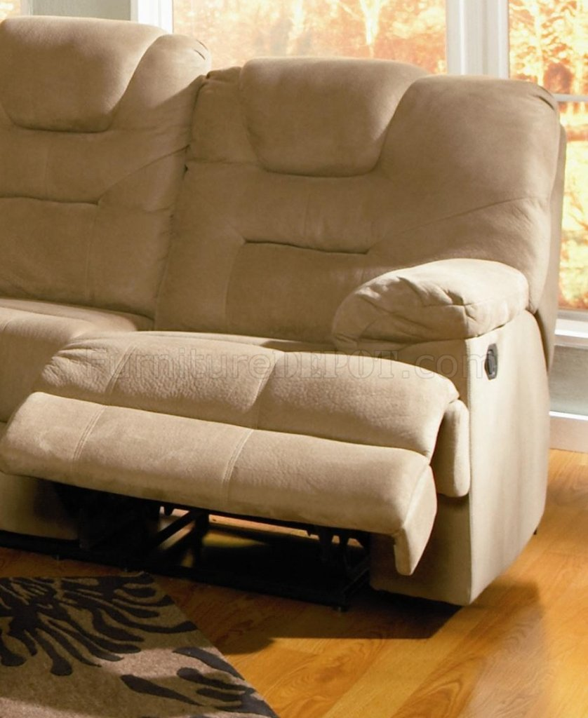 Mocha Padded Microfiber Reclining Sectional Sofa W High Backs