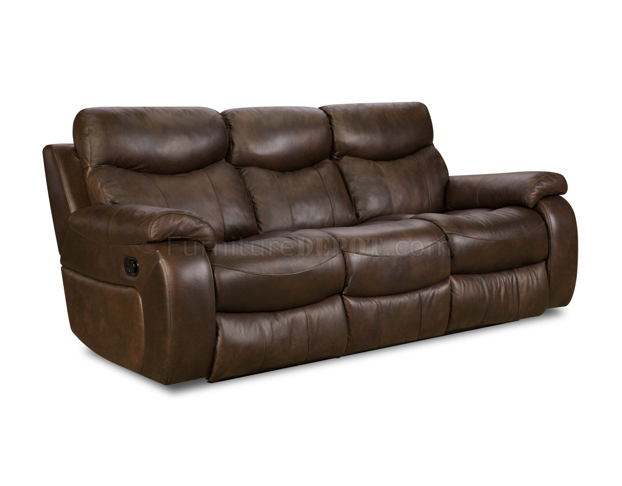 Brown Top Grain Premium Leather Modern Reclining Sofa W Options