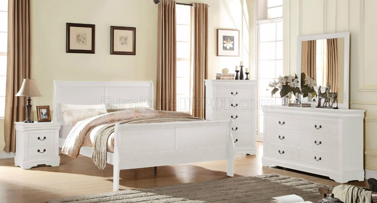 Louis Philippe Bedroom 23830 5Pc Set In White By Acme W/Options