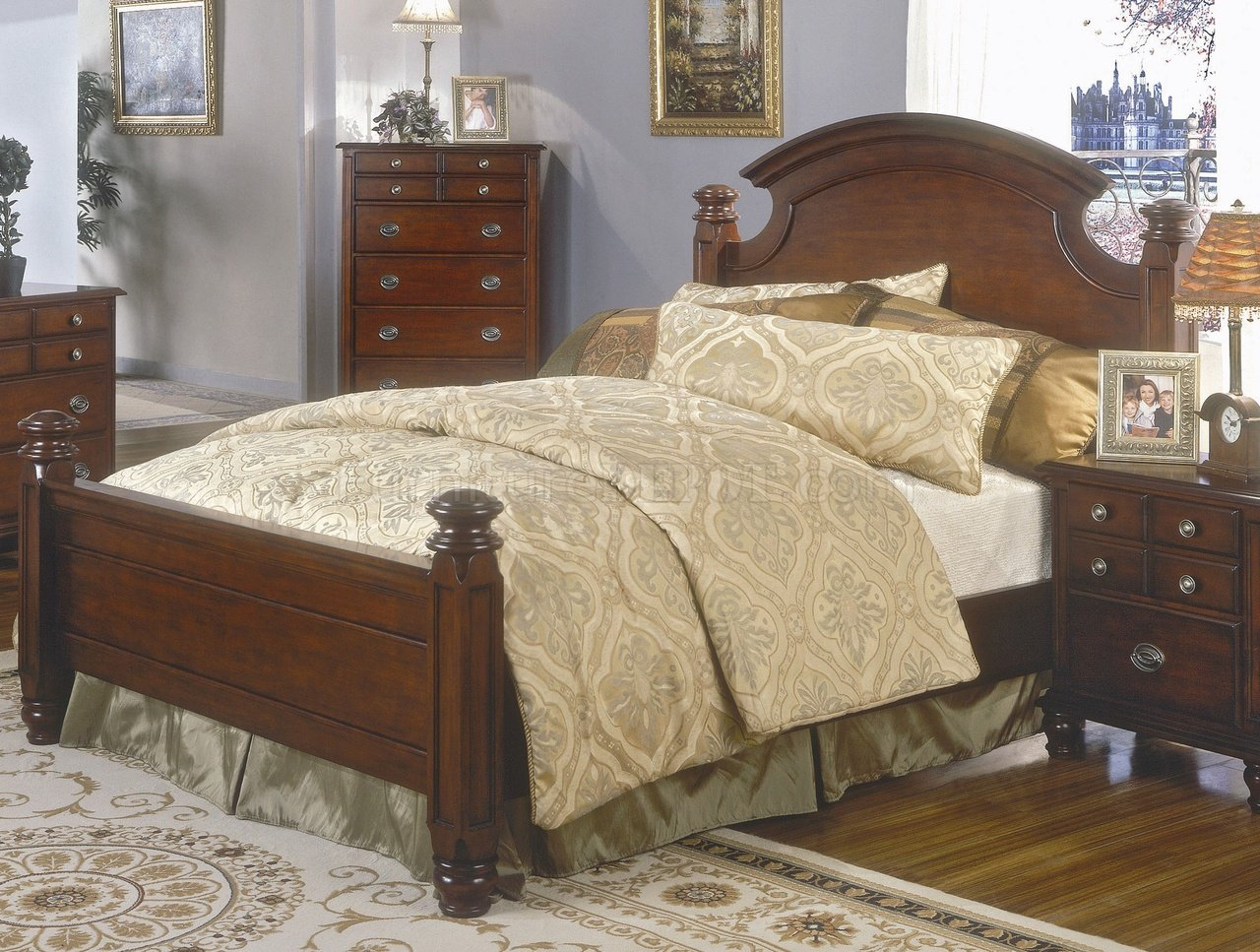 Brown cherry finish classic bedroom set w queen size bed - Queen size bedroom furniture sets ...