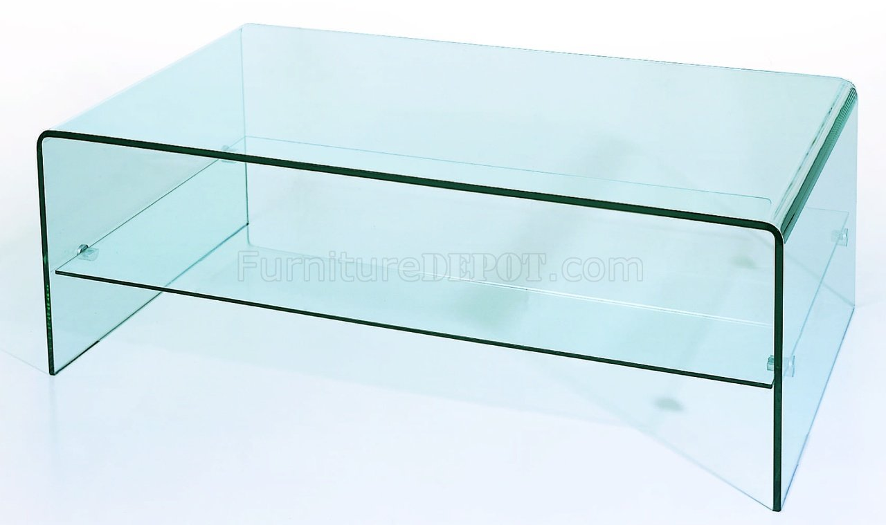 Clear tempered contemporary glass coffee table Glass contemporary coffee table