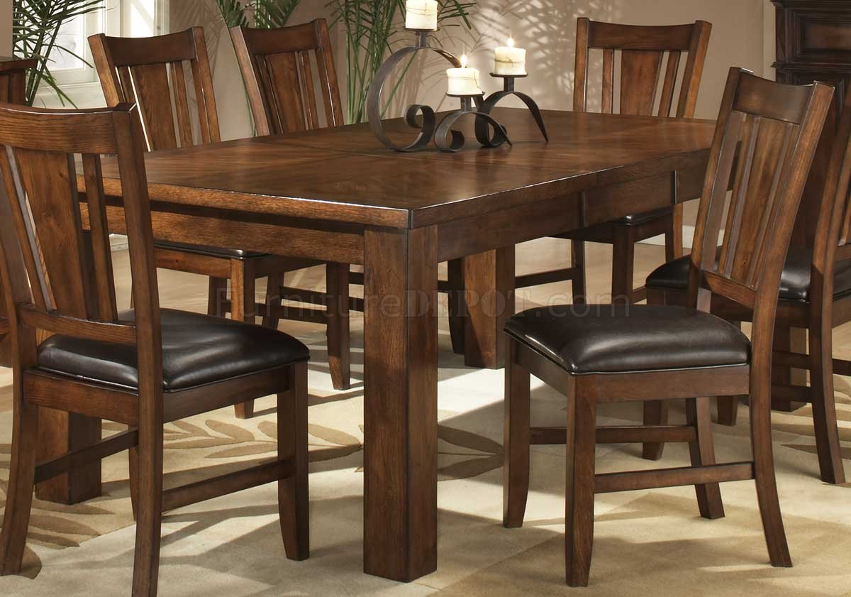 dark oak finish casual dining table w optional chairs heds 986 78