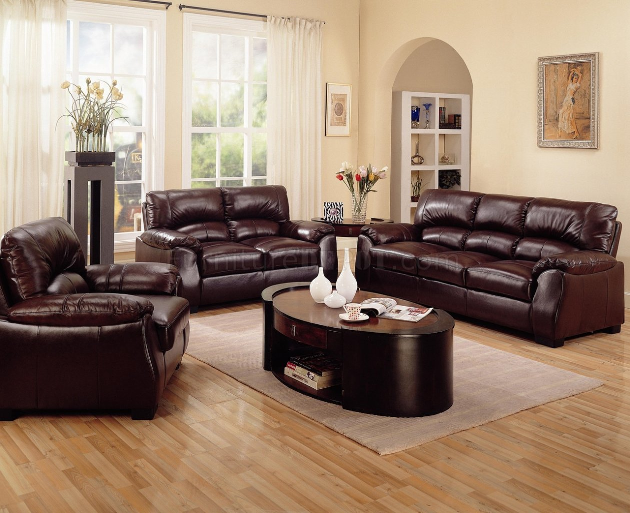Rich Brown Leather Match Contemporary Living Room Sofa W Options