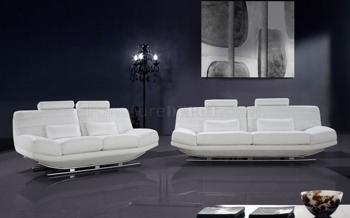Modern Full Italian Leather 3pc Living Room Set Viper White