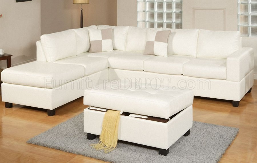 F7354 modern sectional sofa in cream bonded leather by poundex New couch designs