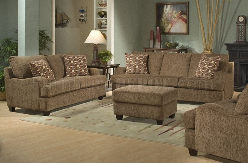 Lush Brown Chenille Stylish Living Room Sofa W Sloping Curves