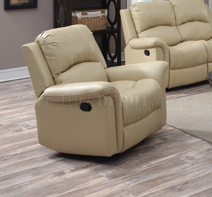 G795 Motion Sofa Loveseat In Beige Bonded Leather By Glory