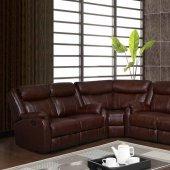 U7303c motion sectional sofa in walnut leather gel by global for Prostoria divani