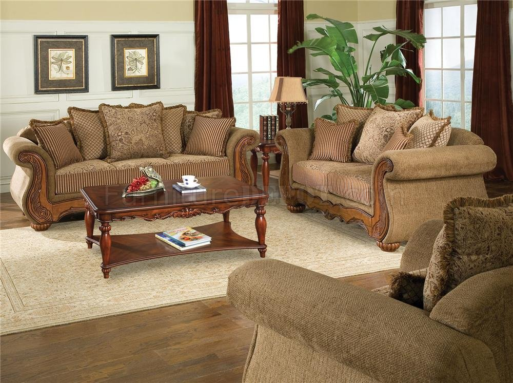 Brown Chenille Sofa Living Room Furniture