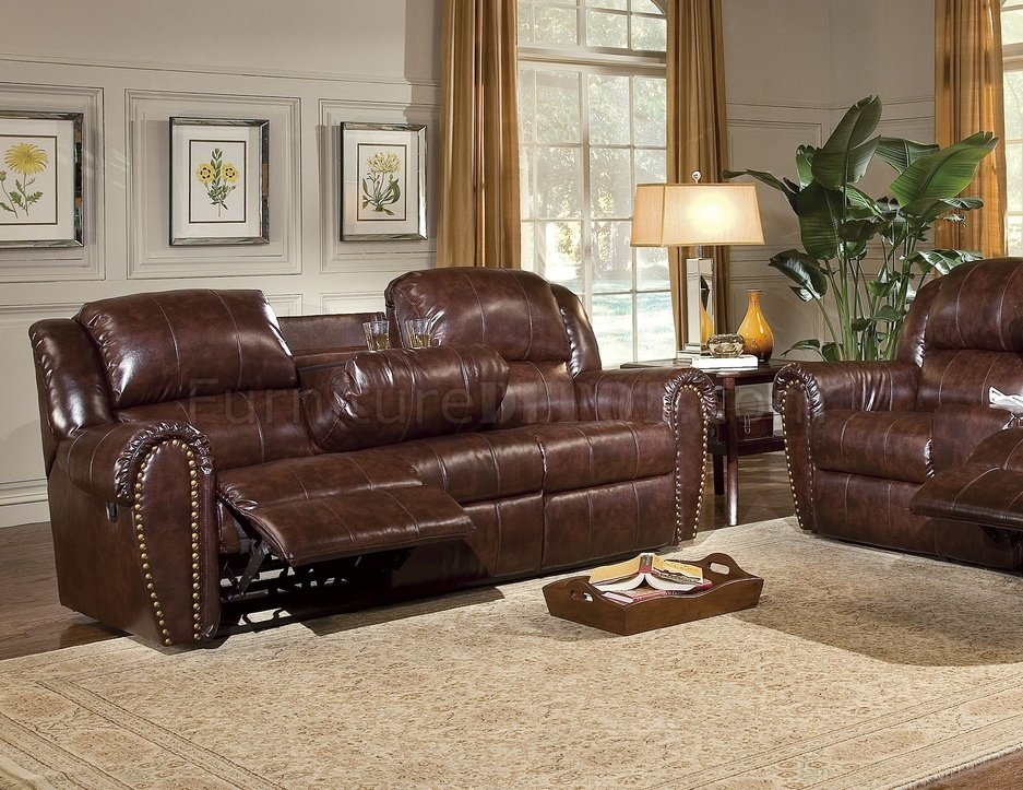 Cognac Brown Bonded Leather Sofa Amp Chair Set W Reclining Seats