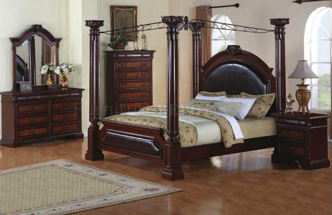 Two-Tone Finish 5Pc Classic Bedroom Set w/Canopy Bed