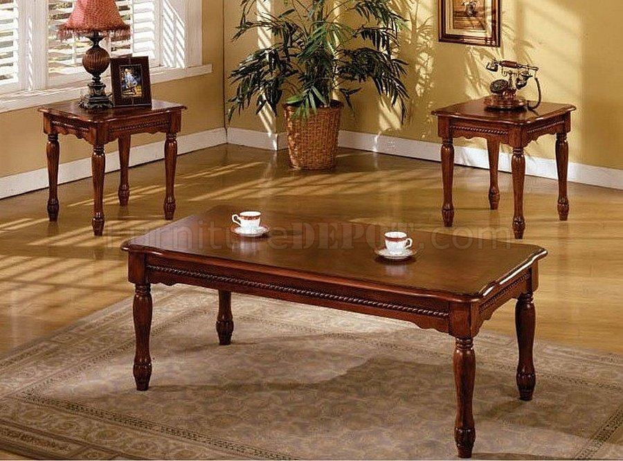 Cm4145 San Carlos Coffee Table 2 End Tables 3pc Set In Cherry