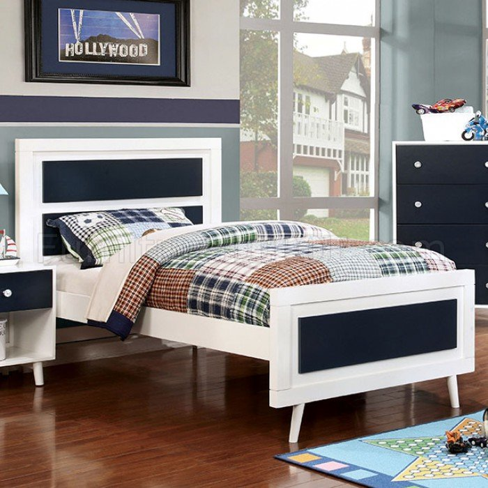CM7850BL 4Pc Kids Bedroom Set in White/Blue w/Options