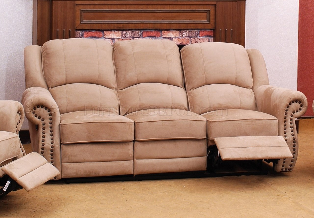 Beige Suede Fabric Traditional Reclining Sofa W Optional Items