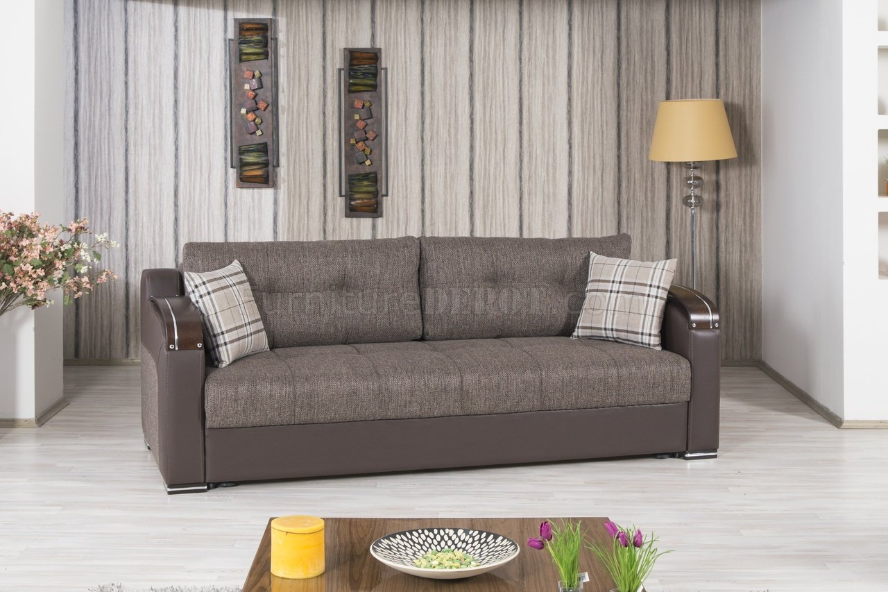 Divan Deluxe Sofa Bed In Brown Fabric By Casamode W Options