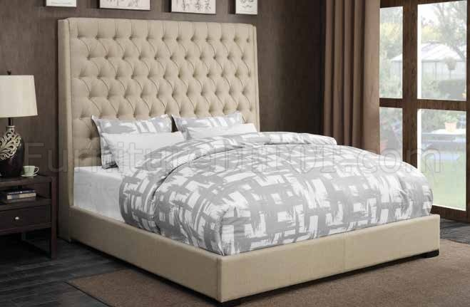 Camille 300722 Upholstered Bed In Cream Fabric By Coaster