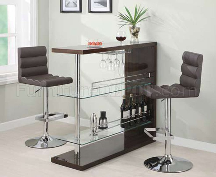 Cappuccino Gloss Finish Modern 3pc Bar Set W Clear Glass Shelves