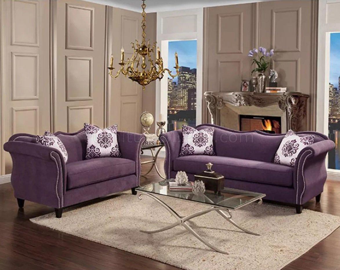 Zaffiro Sofa SM2233 In Lavender Fabric W Options