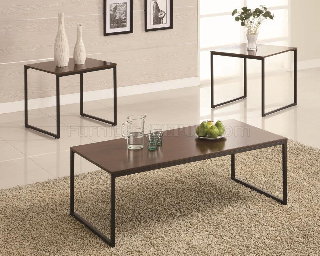 Black Metal Base amp Brown Wood Top Modern 3Pc Coffee Table Set