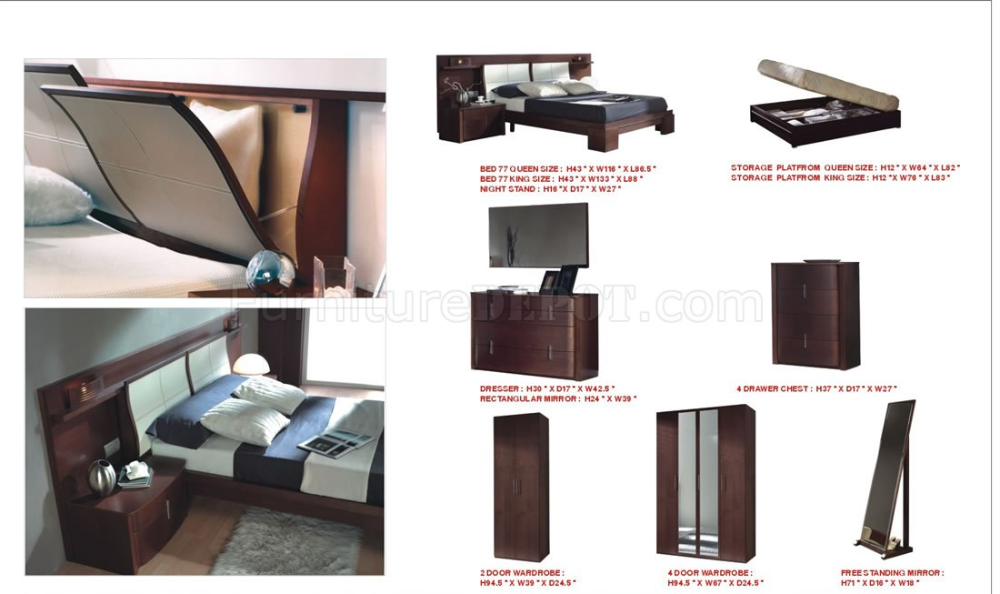 Wenge Finish Modern Wooden Bed With Headboard Storage