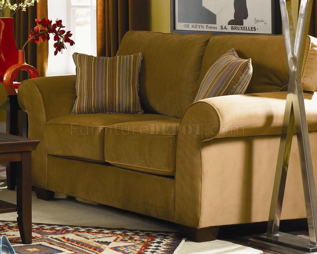 Tan Or Olive Velvet Casual Sofa Amp Loveseat Set