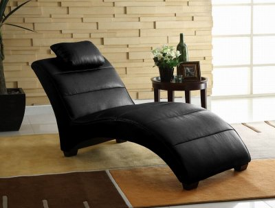Contemporary Furniture Chaise on Black Bonded Leather Modern Chaise Lounger W Pillow At Furniture Depot