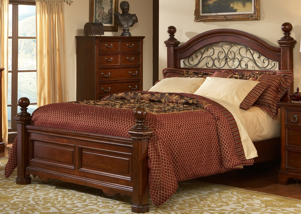 Rustic brown cherry finish traditional poster bed w options for Bedroom decor chairs