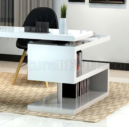 modern office deskj&m in white lacquer