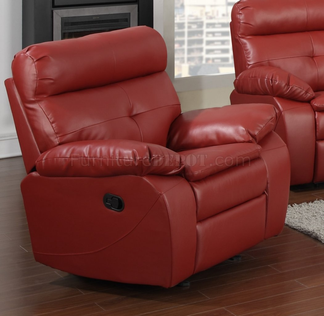 G570a reclining sofa loveseat in red bonded leather by glory Red sofas and loveseats