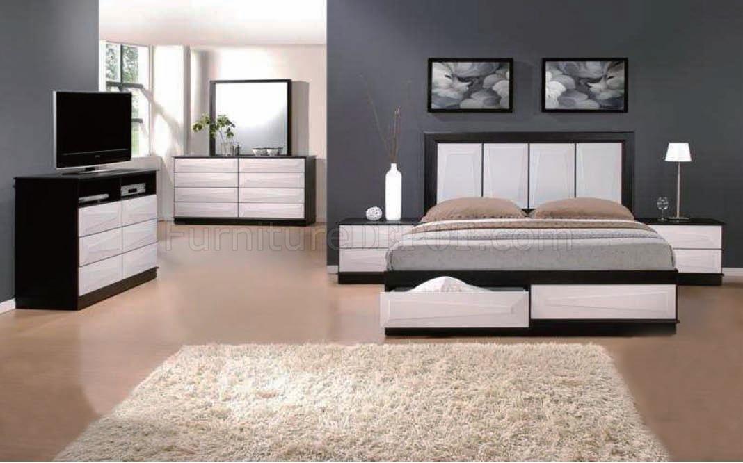 Black White Two Tone Finish Modern Bedroom W Optional Items