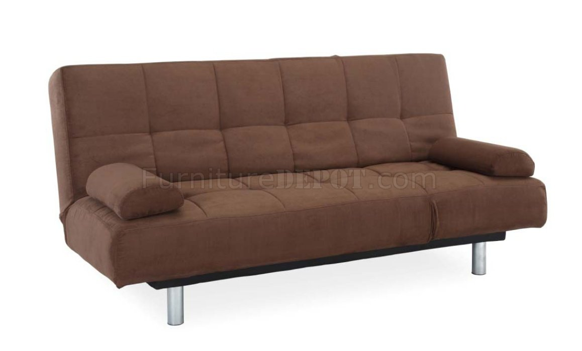 Java Microfiber Modern Convertible Sofa Bed W Metal Legs