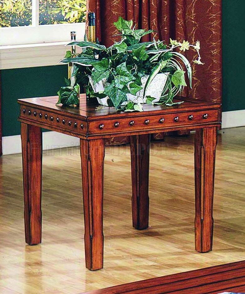 Pine Solid Wood Stylish 3Pc Coffee Table Set W/Nail Head
