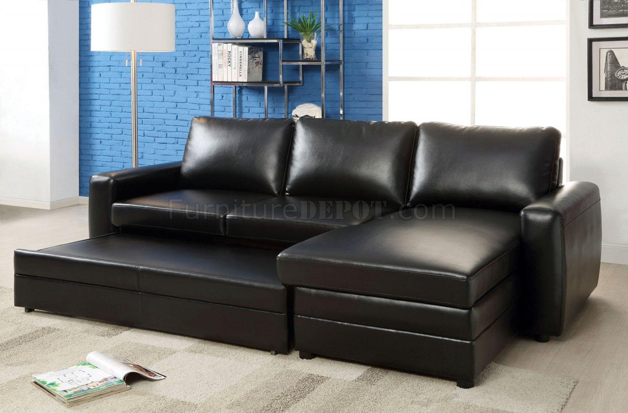 Salem Cm6313 Sectional Sofa In Black Bonded Leather Match