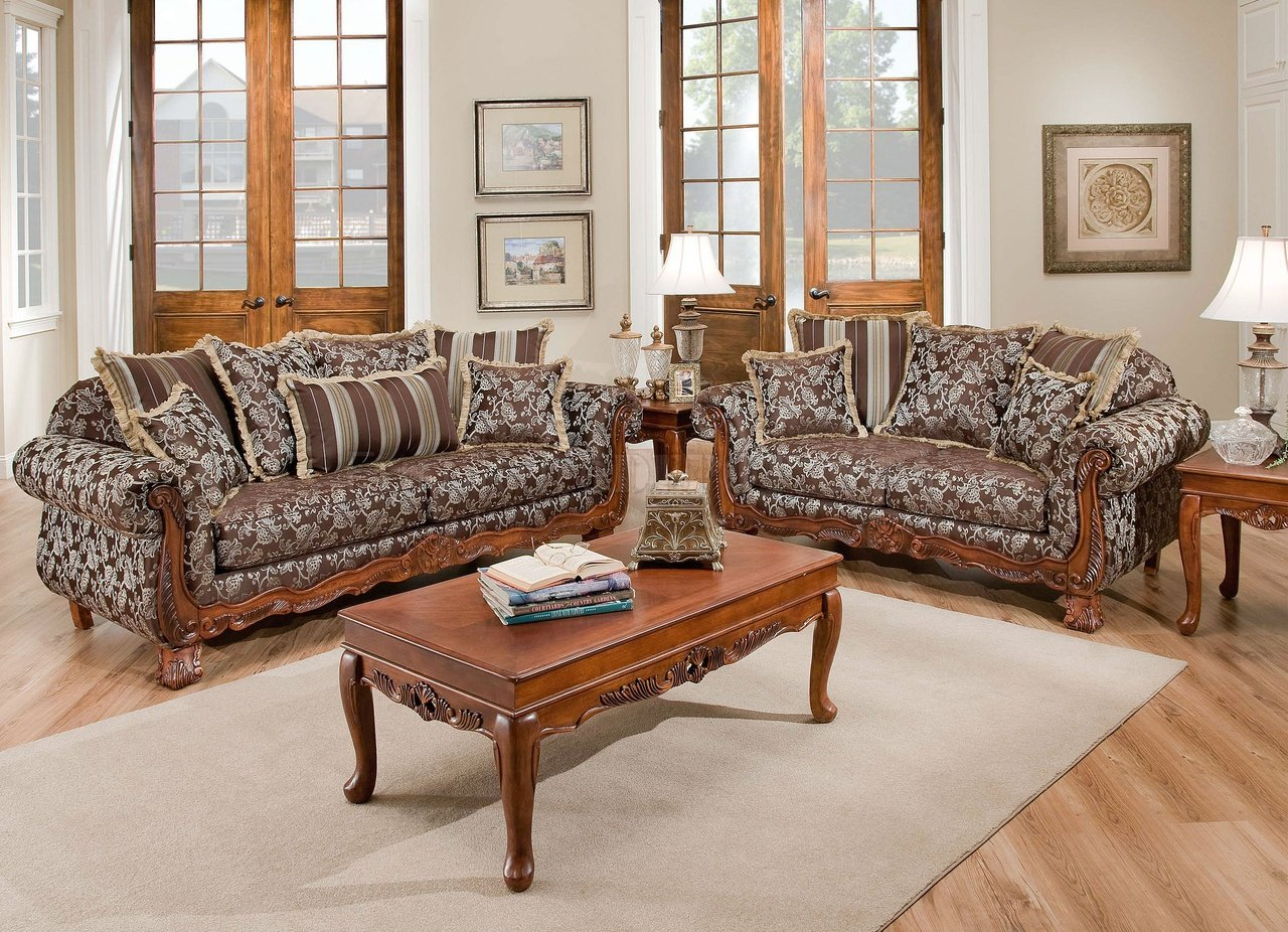 Textured fabric traditional living room w carved wood accents for Living room set design