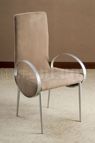 Set Of 6 Modern Dining Chairs With Beige Color Fabric