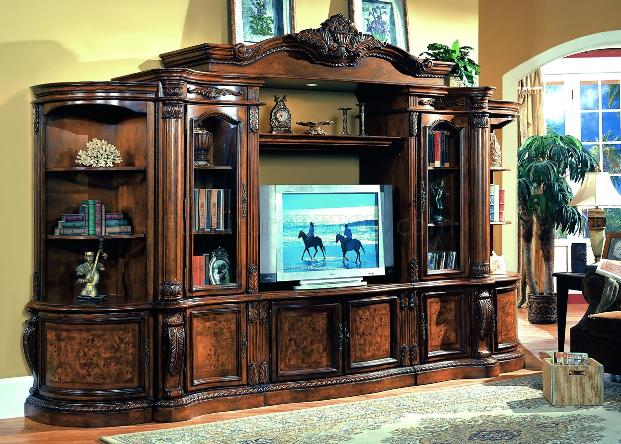 Cherry ash burl finish classic entertainment wall unit Wall unit furniture