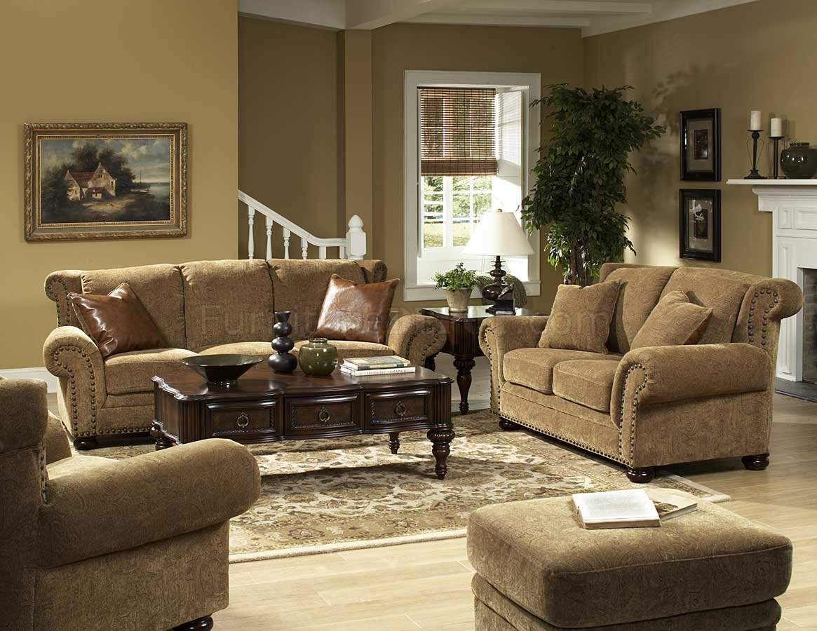 Floral Chenille Stylish Living Room Sofa   Loveseat Set At Furniture