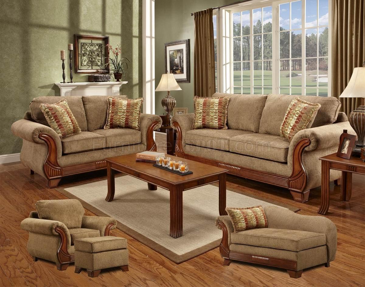 Mocha Fabric Classic Sofa Loveseat Set W Optional Items
