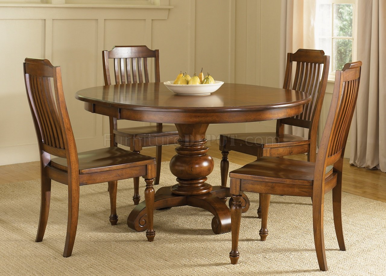 Chestnut Finish Dining Room Round Pedestal Table W Options LFDS 206 DR
