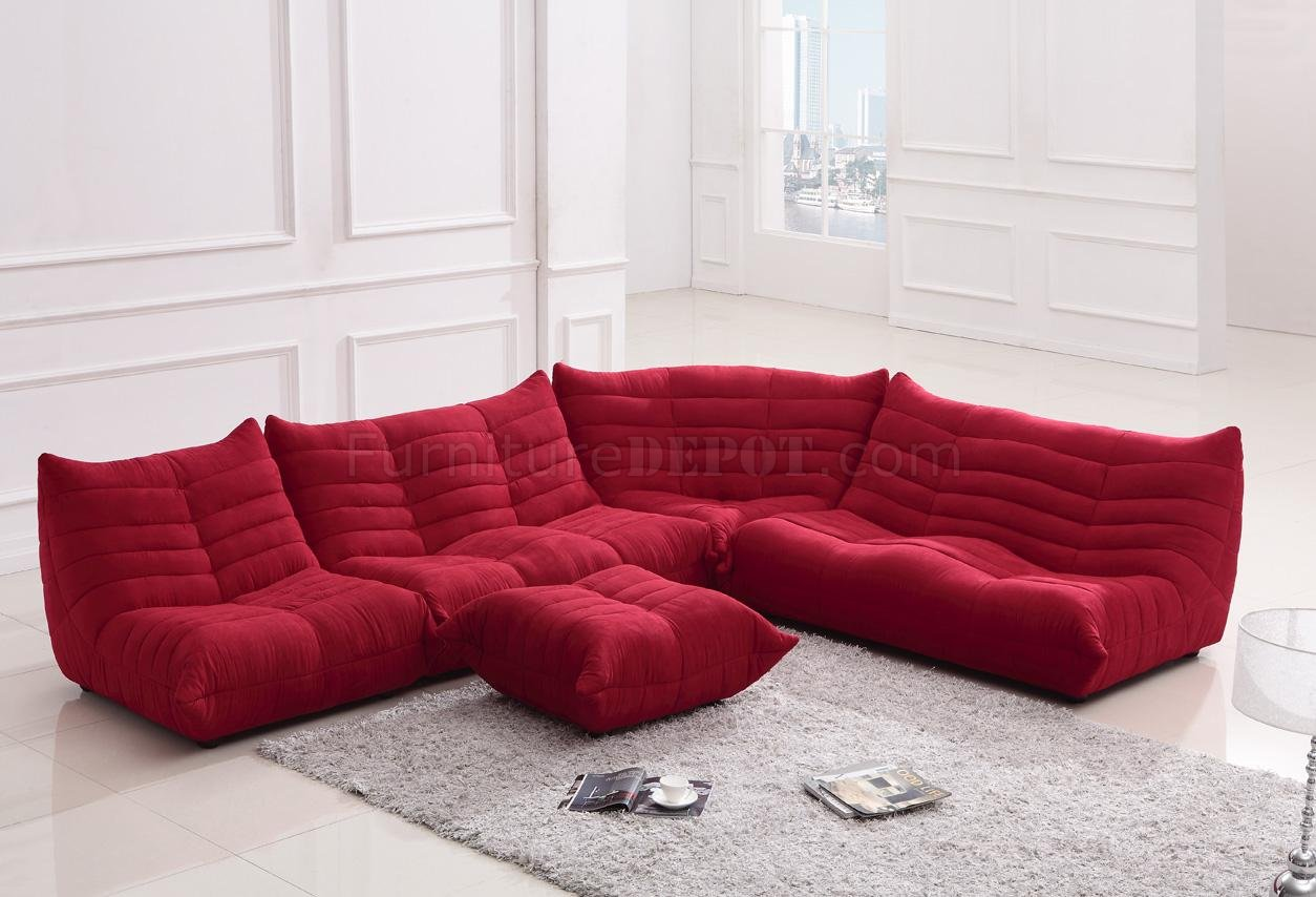 Red Fabric Modern Sectional Sofa w/Ottoman